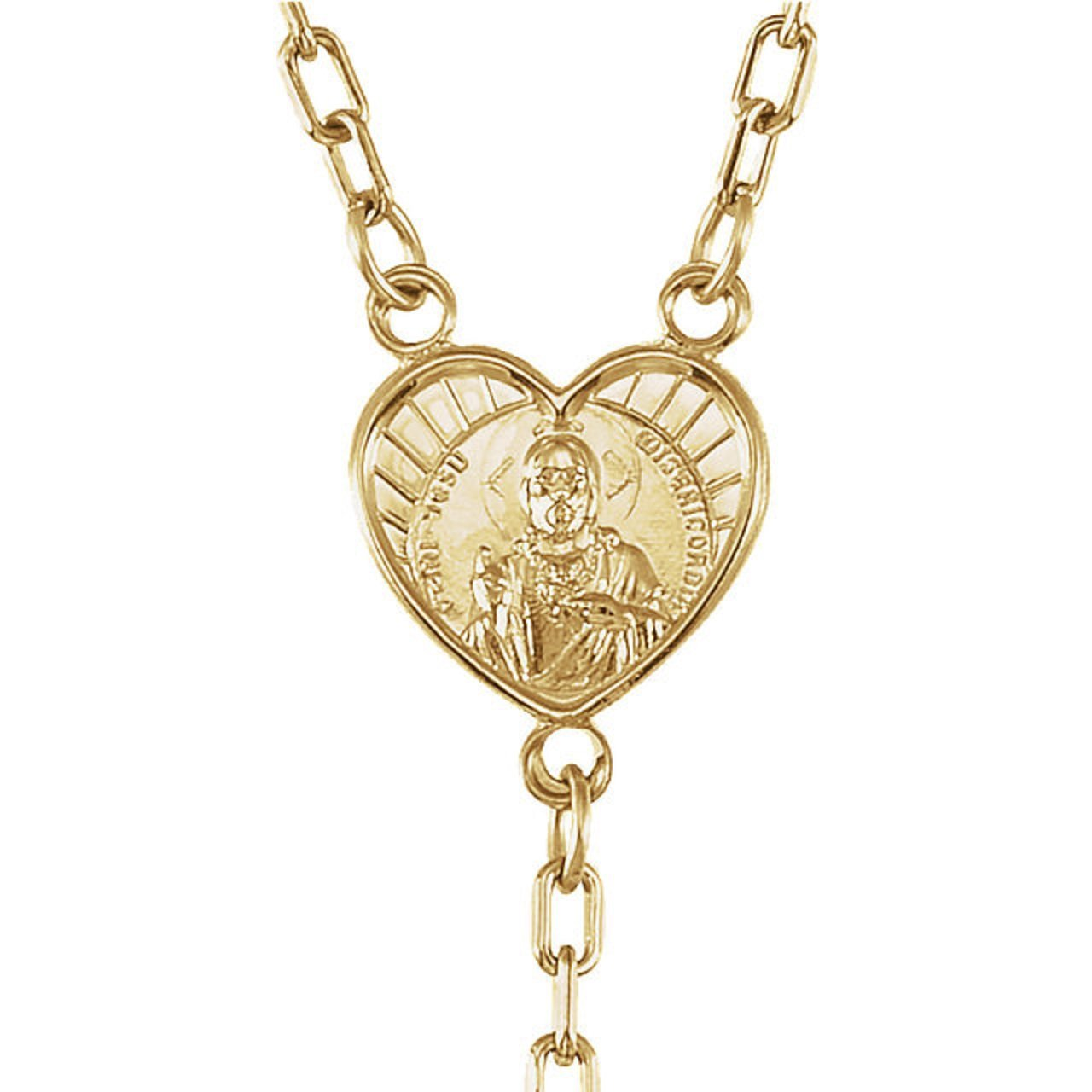 Roxx Fine Jewelry 14K Gold Filled and Rose Quartz Ornate Sacred Heart Center 27'' Rosary Necklace 2.00mm Beads by Roxx Fine Jewelry (Image #2)
