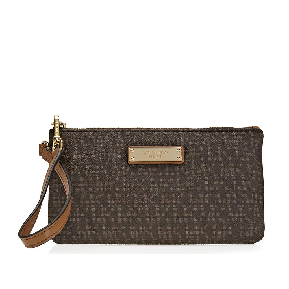 MICHAEL Michael Kors Signature Jet Set Item Medium Wristlet, Color 200 Brown w/Gold-tone Hardware by Michael Michael Kors