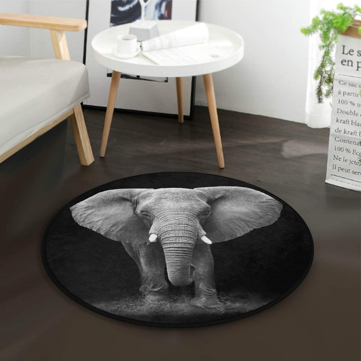 ALAZA Indian Elephant Black Round Area Rug for Living Room Bedroom 3 Diameter 92 cm