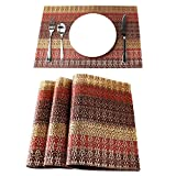 Lavin Placemat Set of 4 Heat-resistant Waterproof Place Mat for Dining Table Kitchen Decoration PVC Vinyl Satin Resistant Washable Heavy Duty Placemats (Red/Gold/Brown, Set of 4)