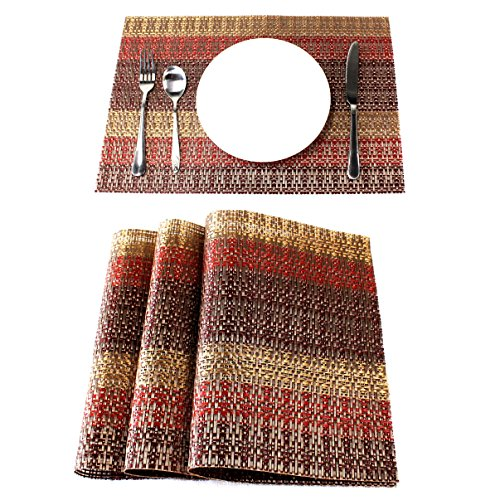 Lavin Placemat Set of 4 Heat-resistant Waterproof Place Mat for Dining Table Kitchen Decoration PVC Vinyl Satin Resistant Washable Heavy Duty Placemats (Red/Gold/Brown, Set of 4) by Lavin