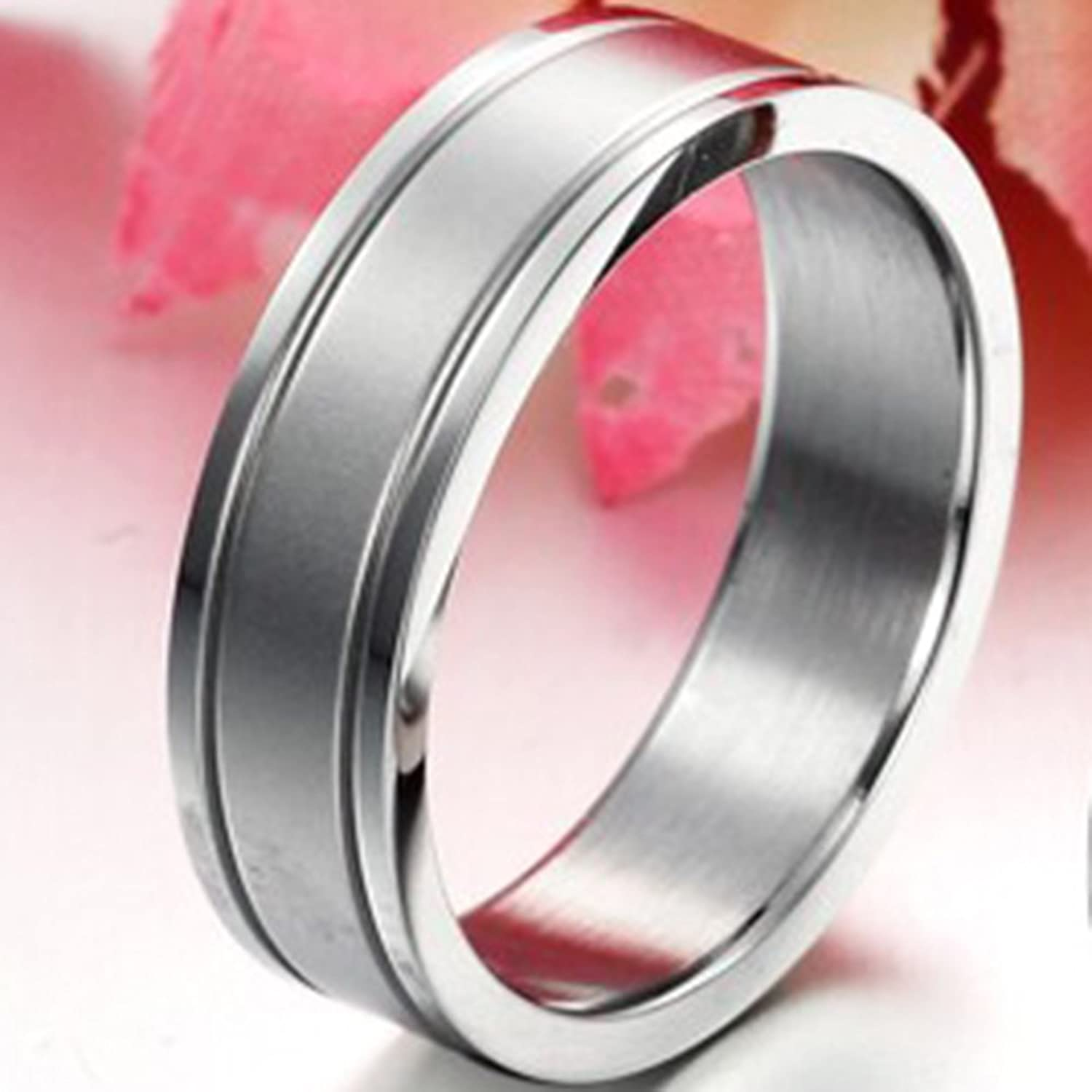 Mens 6mm Stainless Steel Channel Set Silver Ring Engagement Wedding ...