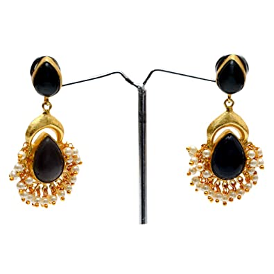 87f8a0dca Buy Samrey Metal Black Stone Earring Jhumka With Pearl Droplet Online at  Low Prices in India