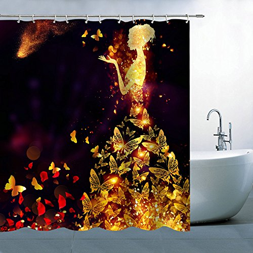 BCNEW Shower Curtain Creative Beautiful Girl Butterfly Dress,Yellow Blinking Rose Petal Romantic,70.68 x 70.68 Inches Waterproof Polyester Fabric Bathroom Curtains Hanging Curtain -