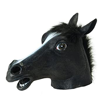 Queenshiny® máscara de látex caballo (negro)