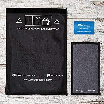 Armadillo Pro-Tec Signal Blocking Bag - Faraday Cage for Cell Phones and Car Key Fobs! Pouch Blocks RFID/NFC / WiFi/Bluetooth Signals - Stops Car Theft/Hacking / Tracking!