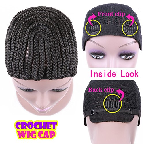 [HANNE Clip in Cornrow Crochet Braided Wig Cap Adjustable Medium Size Crochet Wig Cap (U Part)] (Cornrow Wigs)