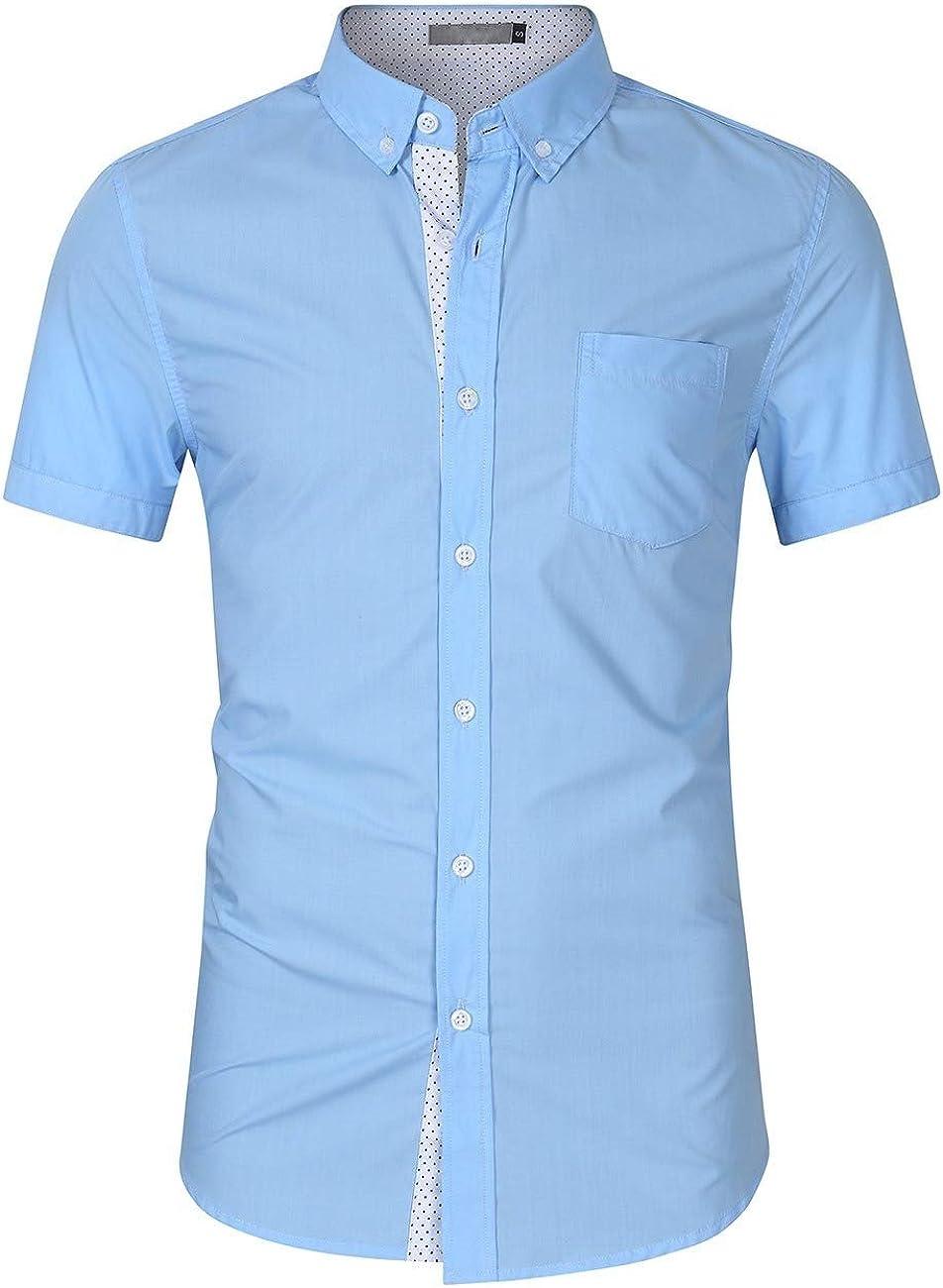 Vska Men Short-Sleeve Lounge Printing Lapel Button Oversized Tees Polo Shirt