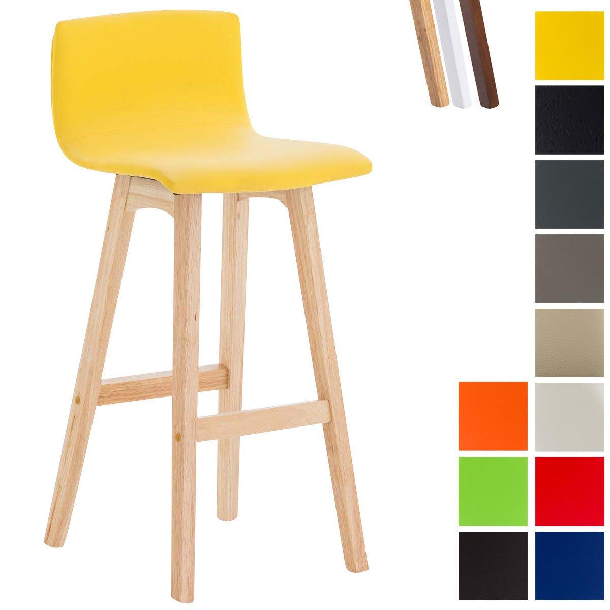 CLP Barhocker TAUNUS mit Kunstlederbezug und hochwertiger Polsterung I Thekenhocker mit Rückenlehne und Fußstütze Gelb, Gestellfarbe  Natura