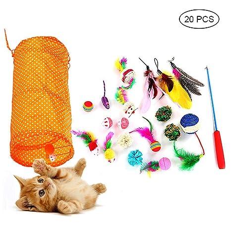 KOBWA - Juguetes para Gatos, 20 Unidades, Juguetes interactivos para Gatos con túnel de