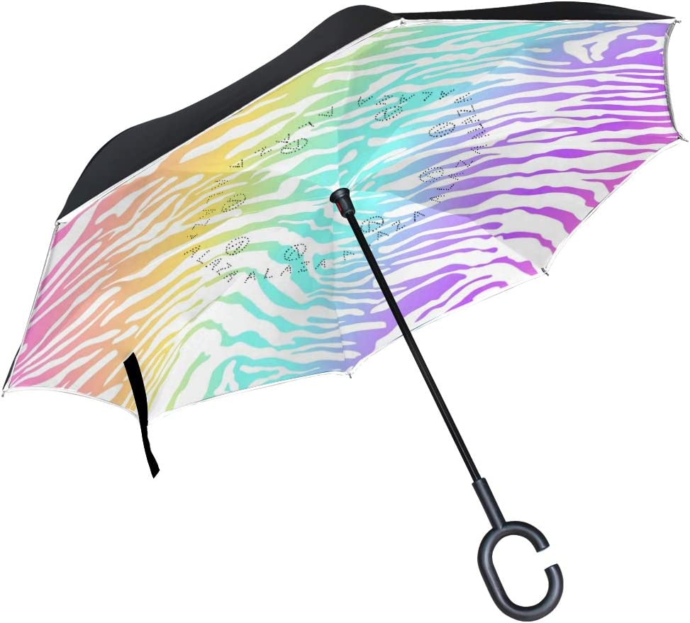 Car Reverse Folding Umbrella Windproof UV Protection with C-Shaped Handle Inverted Umbrella with Rainbow Neon Skin Pattern Print
