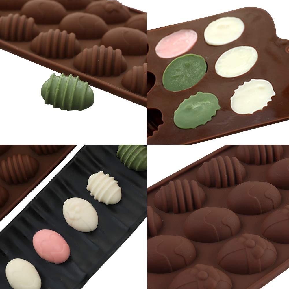 /œufs de P/âques en silicone Chocolat Candy Moules Yucool Lot de 3/moules en silicone avec 15-cavity pour Candy Chocolat Gel/ée Chocolat glace Cube-red Rose