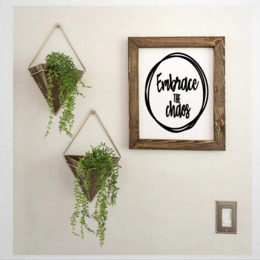 BYRON HOYLE Embrace The Chaos Framed Wood Sign, Wooden Wall Hanging Art, Inspirational Farmhouse Wall Plaque, Rustic Home Decor for Nursery, Porch, Gallery Wall, Housewarming
