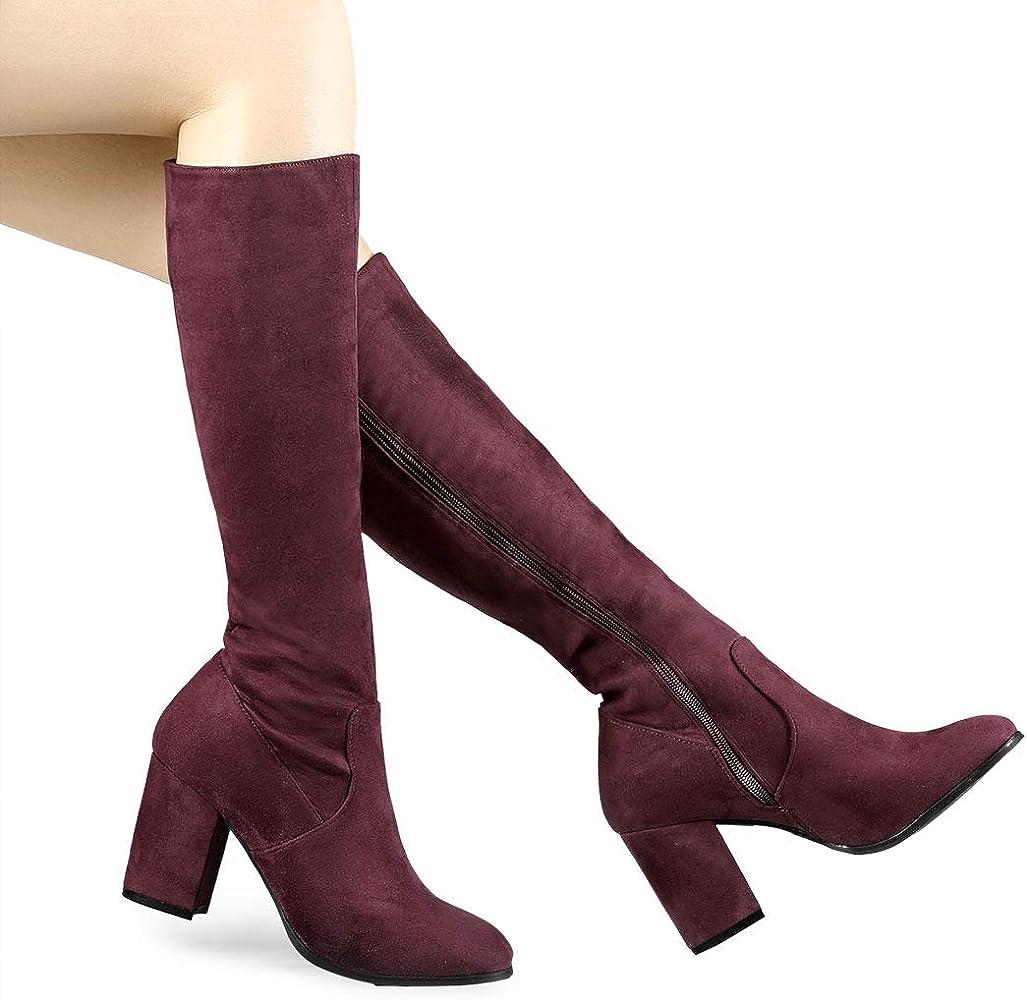 New Womens Over The Knee Suede Boots Ladies Low Block Heel Zip Shoes Size Uk 3-8