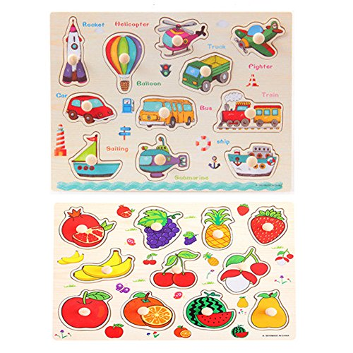 LASLU 2-Pack Wooden Kids Children Jigsaw Education And Learning Puzzles Toys,Highest Quality Materials,Fit For 1-3 Years Baby,Training Kids Imagination,Non-toxic Paints(fruit, transportation style) (Kids Puzzles With Knobs)