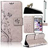 Samsung Galaxy S4 Case, Bonice 3 in 1 Accessory PU Leather Flower Pattern Flip Practical Book Style Magnetic Snap Wallet Case with [Card Slots] Premium Multi-Function Design Cover + Stylus Pen + Diamond High-heeled Shoe Antidust Plug, Grey