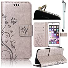 Samsung Galaxy S5 S5 Neo i9600 GT-I9600 Samsung Galaxy S5 (SM-G900F) - S5 Neo (SM-G903F) [Embossing Flower Butterfly Pattern ]Leather Phone Case , Sunroyal Premium PU Leather Purse Wallet Folding Flip Folio Case Protection Soft TPU Back Case Cover in Book Style with Card Slots & Magnetic Closure + 1x Bling Glitter Crystal Rhinestone Diamond Anti Dust Plug + 1x Metal Stylus Touch Pen , Grey Gray