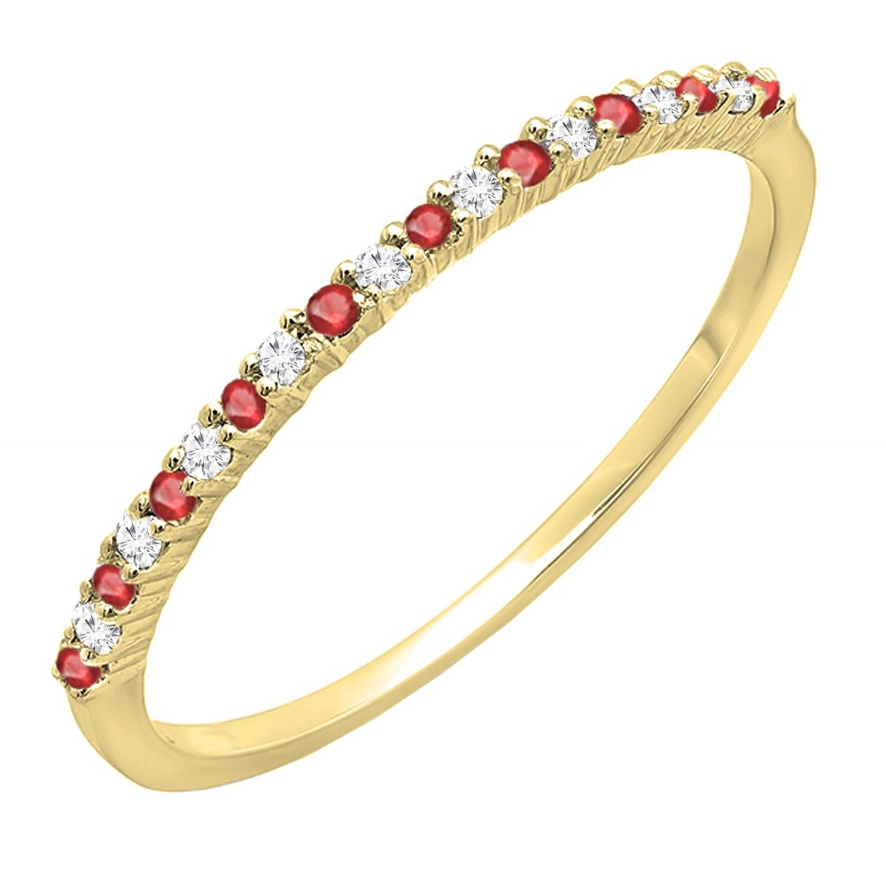 DazzlingRock Collection 10K Yellow Gold Round Ruby & White Diamond Ladies Anniversary Wedding Stackable Ring (Size 6)