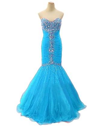 Ikerenwedding Womens Sweetheart Tulle Crystal Beaded Long Mermaid Prom Dresses Formal Gown Blue US02