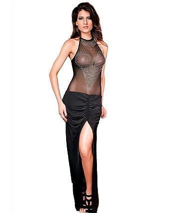 Strass Sexy Transparente Robe Avec Noir3640 Longue If7yY6vmbg