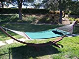 Petra Leisure, 14 Ft. Water Treated Wooden Arc Hammock Stand + Deluxe Quilted, Double Padded Hammock Bed w/Pillow. 2 Person Bed. 450 LB Capacity (Coffee Bean Stain/Elegant Hunter Green)
