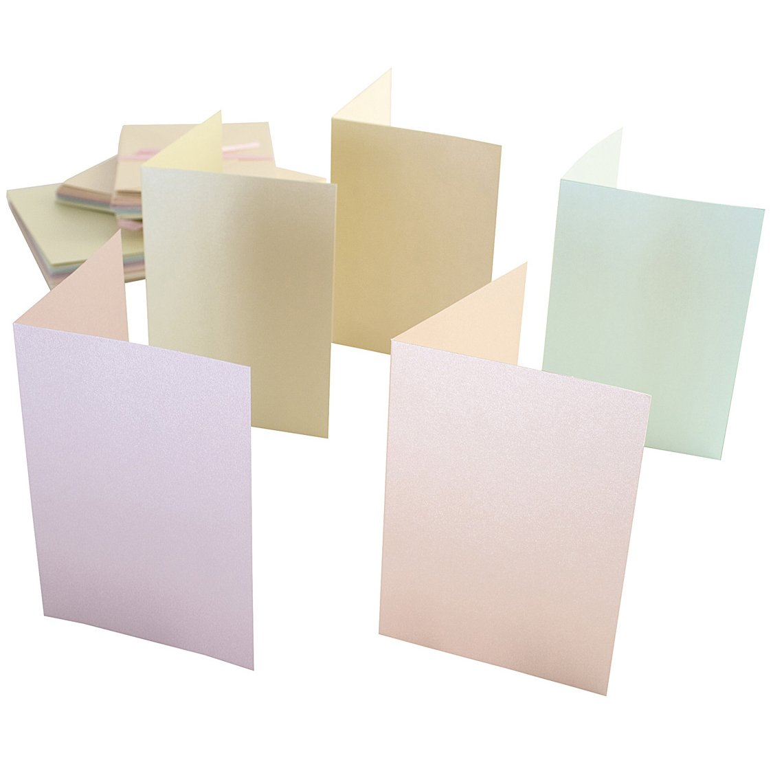 docrafts Anita's Pearlescent Cards/Envelopes A6, Pastel Ivory, Ecru, Pink, Peach and Green, 50-Pack