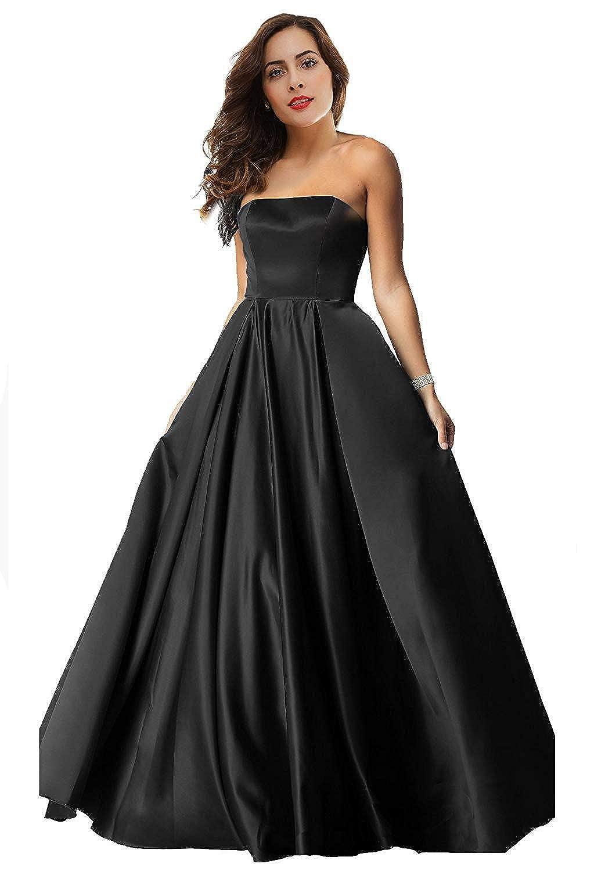 Black Womens Satin Long Prom Dresses 2019 Floor Length Strapless Evening Gowns P179