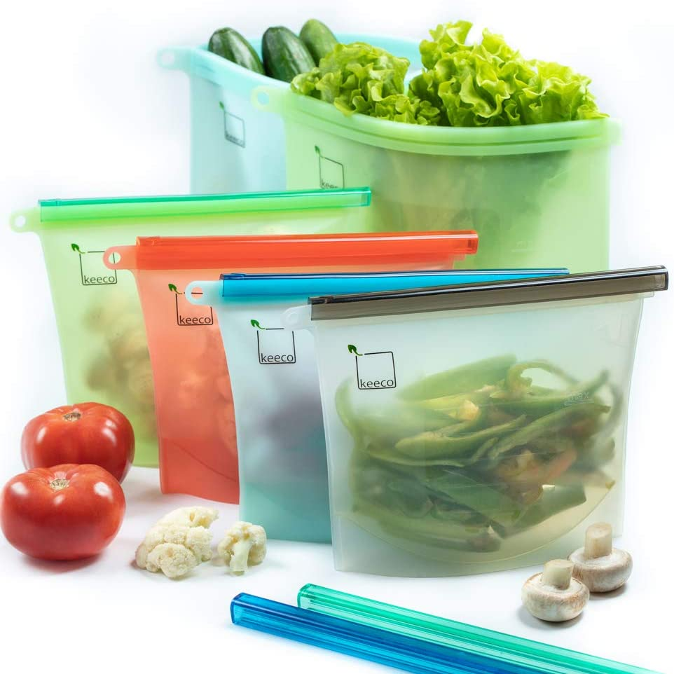 Reusable Silicone Food Storage Bags, Sandwich, Sous Vide, Liquid, Snack, Lunch, Fruit, Freezer Airtight Seal, Versatile Preservation Bags, Freezer Containers 2xLarge (50 Oz) + 4xMedium(30 Oz)