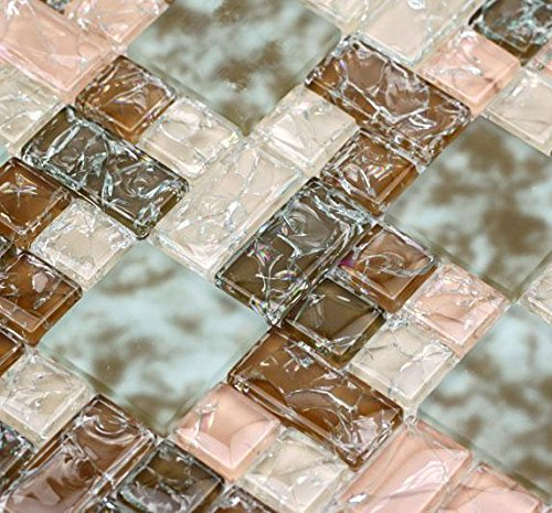 Glass Mosaic Copper Sink - Crackle Roseate (GP08) Pink Copper Puzzle Glass Backsplash Mosaic Tile for Kitchen Bathroom Wall (Sample)