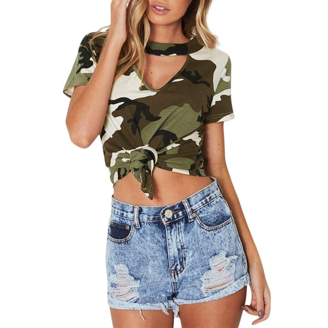 Amazon.com: TIFENNY Women Fashion Camo Printing Top Short Sleeve Elegant T-Shirt,Clearance!: Clothing