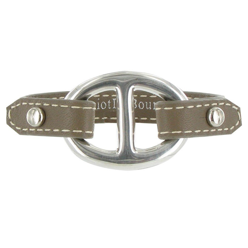 Les Poulettes Jewels - Sterling Silver Bracelet - With Leather and Marine Knot Design - Classics - Beige