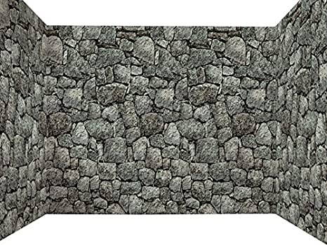 Forum Novelties Dungeon Decor Indoor/Outdoor Stone Wall Backdrop, 100u0027, ...