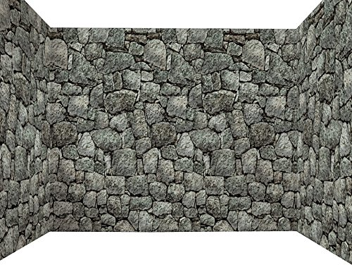 Forum Novelties Dungeon Decor Indoor/Outdoor Stone Wall Backdrop, 100', Gray -