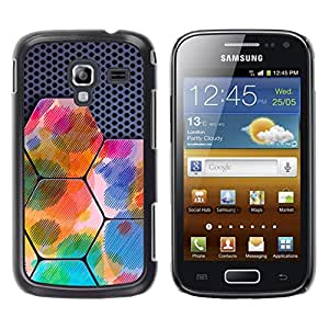 MOBMART Carcasa Funda Case Cover Armor Shell PARA Samsung Galaxy Ace 2 - Rainbow Colored Hexagon Blocks