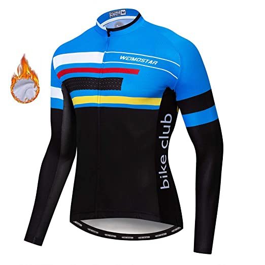 280bde697 Image Unavailable. Image not available for. Color  weimo Men s Cycling  Jersey Winter Thermal Fleece Long Sleeve Bike Shirts
