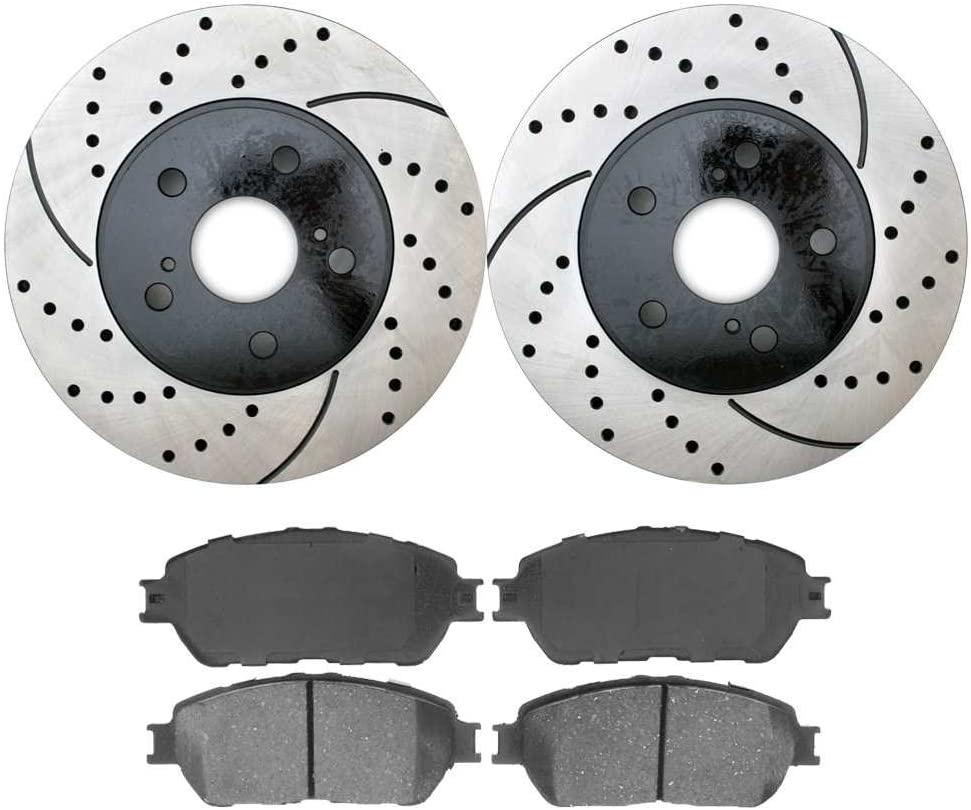 Fits 2004-2010 Toyota Sienna Front Rear HartBrakes Drill Slot Brake Rotors