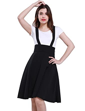 2fc836f74b Fancyqube Women's Retro High Waist A Line Pleated Suspender Skirt Black S
