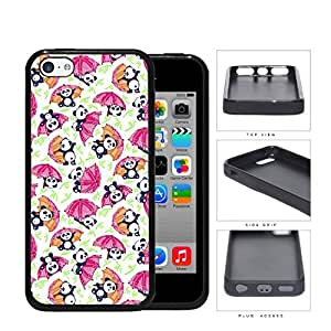 Baby Panda Playing With Umbrella And Bamboo Rubber Silicone TPU Cell Phone Case Apple iPhone 5c