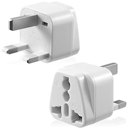 Type G Adapter, Fosmon [CE Certified] USA to UK Hongkong International  Power Adapter Gounded Wall Converter for Travel Use - White (1 PCS)