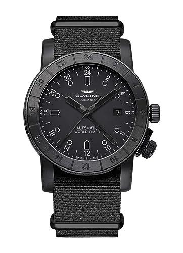 Glycine Airman 42 World Timer GMT GL0070-3954.999.TB99 - Reloj de Pulsera para Hombre, analógico, automático: Amazon.es: Relojes