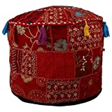 20 Inch Tall Ottoman rajwada-fashion Indian Vintage Patchwork Ottoman Pouf,Indian Living Room Ottoman Pouf Cover, Foot Stool Storage Cover, Round Ottoman Cover Pouf, Floor Pillow Ottoman Poof Cotton Cushion Ottoman Cover