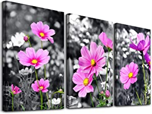 "Canvas Wall Art for Bedroom Wall Decor for Living Room Modern Family Bathroom Canvas Art Pink Flowers Hang Pictures Artwork Black and White Wall Paintings Kitchen Home Decorations 12"" x 16"" 3 Pieces"