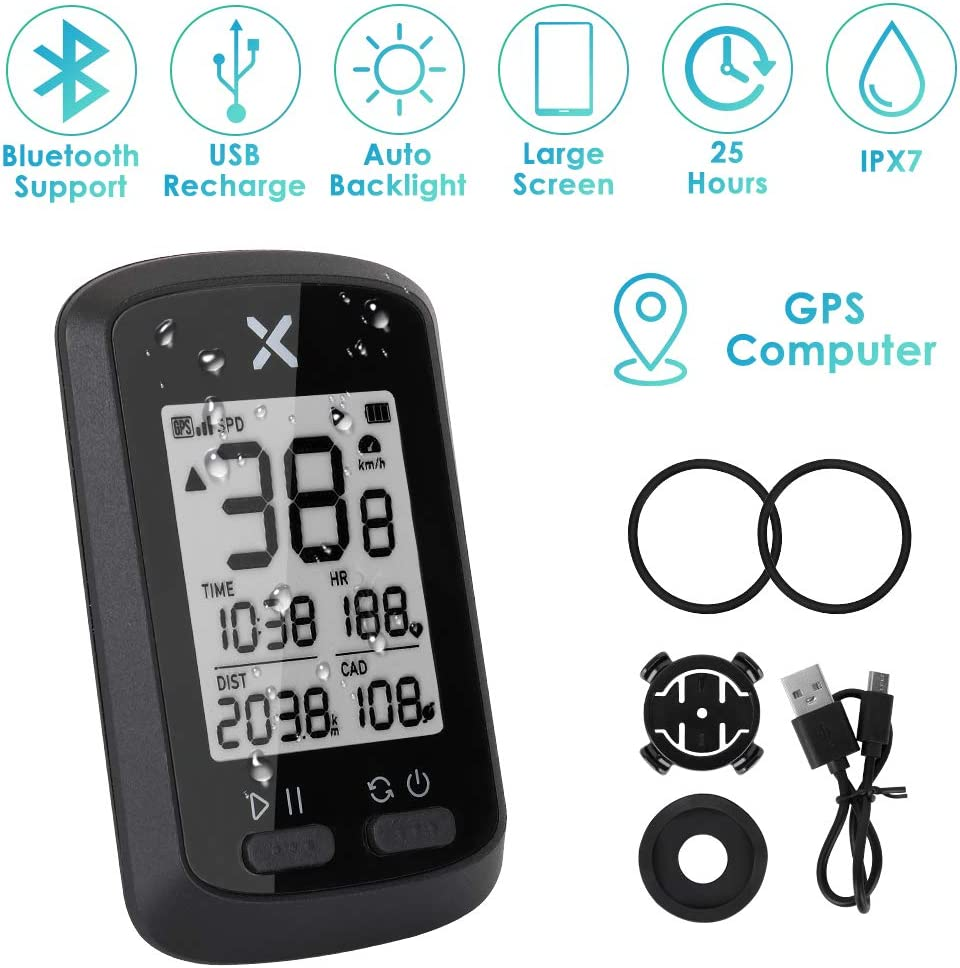 "WOTOW GPS Bike Computer, Wireless Cycling Speedometer Waterproof Bicycle Odometer Bluetooth ANT+ Sensor Support USB Rechargeable 1.8"" LCD Auto Wake-up Backlight Motion Sensor for Road MTB Riding"