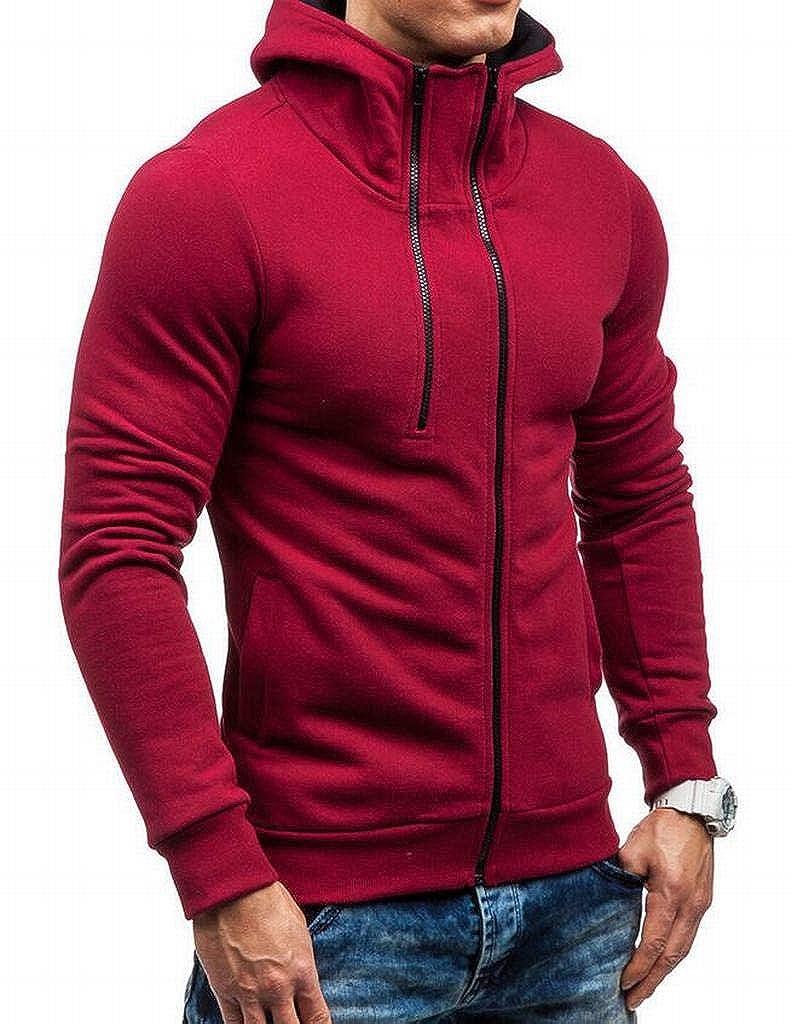 Jofemuho Mens Athletic Long Sleeve Zip Up Slim Fit Casual Sweatshirt Jacket