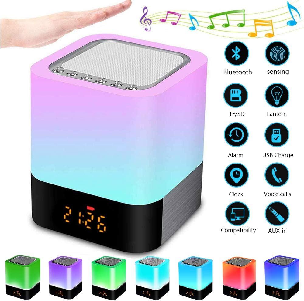 Luz Nocturna Altavoz Bluetooth, Lemonmax Lámpara Táctil Que Cambia de Color, Luz de Noche RGB Regulable, Reloj Despertador Digital, Regalo para Adolescentes