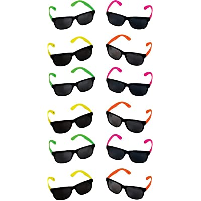 Rhode Island Novelty Neon 80 fts Style Party Sunglasses 2 Dozen: Toys & Games