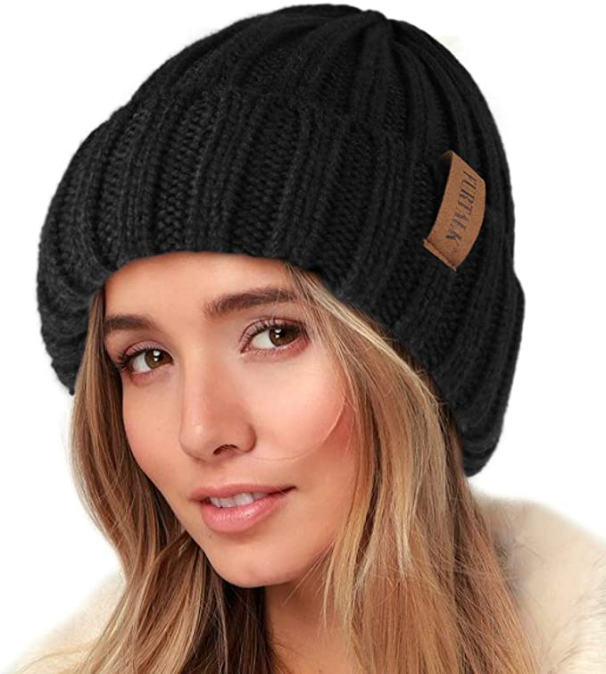 Hand Knit Crochet Grey Winter Hat Cozy Unsex Beanie Hat Puff Beanie Cozy Thick Winter Hat Slouchy Hat Women Winter Hat