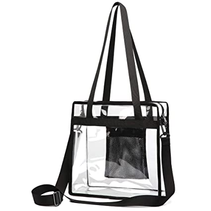 f19aefc37b0c Clear Bag, F-color NFL Stadium Approved Clear Tote Bag, Heavy Duty and  Waterproof Plastic Transparent Bag with Adjustable Strap Cross Body Clear  Purse ...