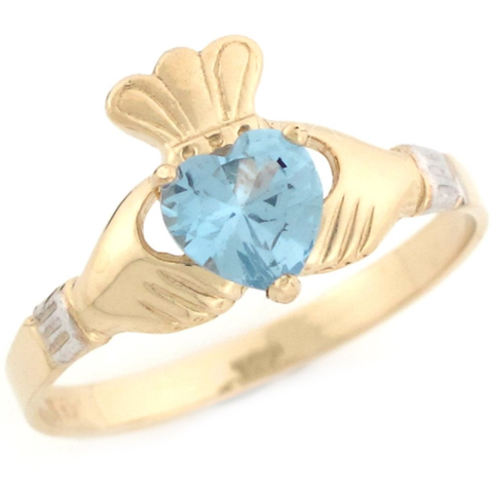 Jewelry Liquidation 10k Two Toned Gold Claddagh Simulated Aquamarine March Birthstone Ring