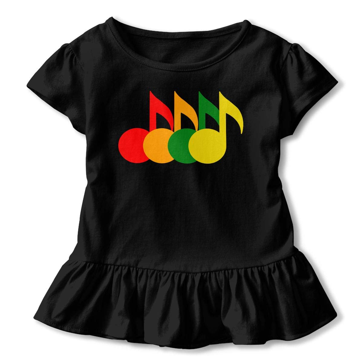 SHIRT1-KIDS Retro Style Music Note Toddler//Infant Girls Short Sleeve T Shirts Ruffles Shirt Tee Jersey for 2-6T